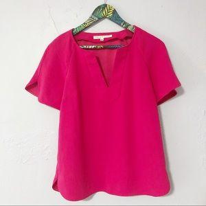 Trina Turk Hot Pink Short Sleeve Open Neck Top
